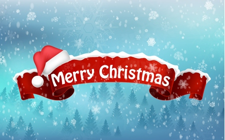winter hat: Merry christmas background with red realistic ribbon banner and snow Stock Photo