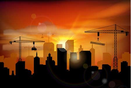 built tower: Construction site silhouette