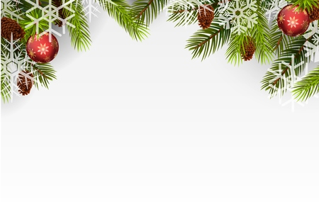 christmas decorations with white background: Christmas ball and Christmas tree