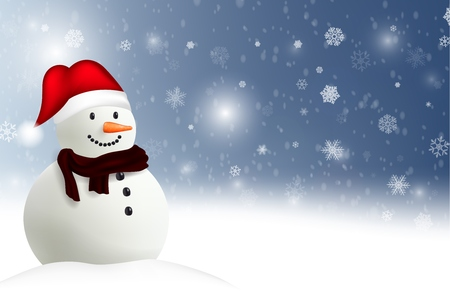 Happy Snowman Christmas background Stock Photo