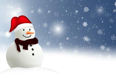bonhomme de neige: Joyeux No�l bonhomme de neige fond Banque d'images