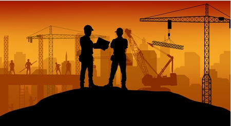 cantieri edili: Operaio edile al lavoro con lavoratore in piedi Vettoriali