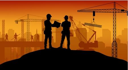camion grua: Trabajador de la construcción en el trabajo con el trabajador de pie Vectores
