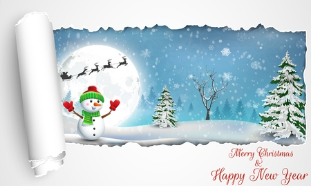 paper folding: Happy Snowman Christmas background with concept folding paper
