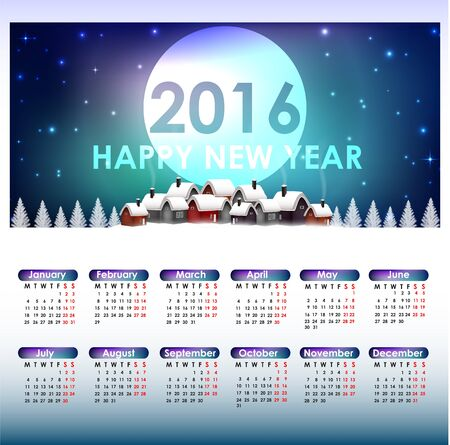 saturday night: Calendar for the year 2016. Christmas background