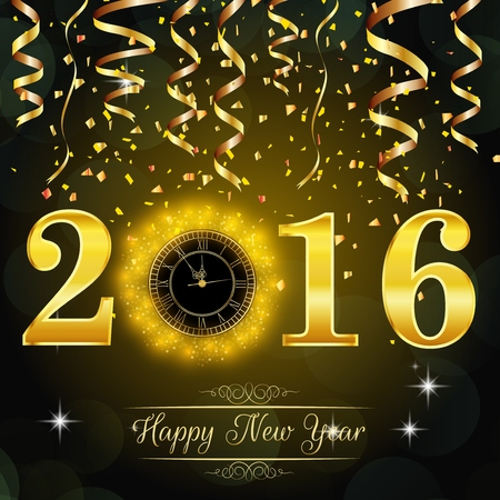 happy: Happy New Year 2016 background with gold clock