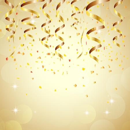 serpentinas: Feliz año nuevo fondo de oro con confeti