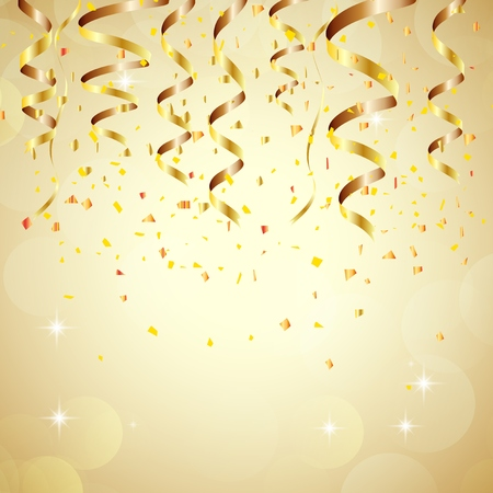 anniversary celebration: Happy new year background with golden confetti