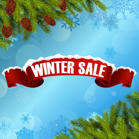 winter tree: Winter sale background banner and christmas tree
