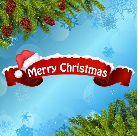 blue christmas background: Merry christmas background banner and christmas tree
