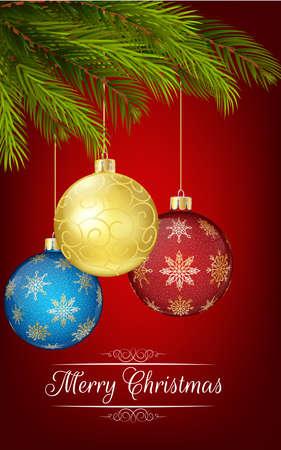 blue ball: Christmas decoration with Christmas tree and ball