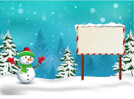 happy christmas: Happy Snowman Christmas background Illustration