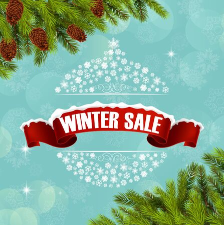 christmas banner: Winter sale background banner and christmas tree