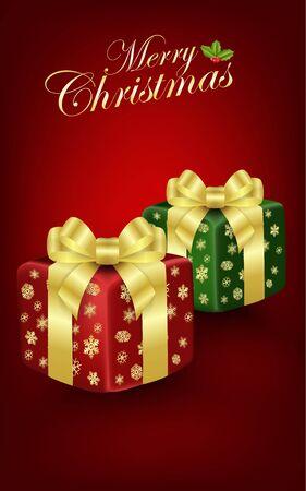 christmas gift box: Christmas gift box on red background