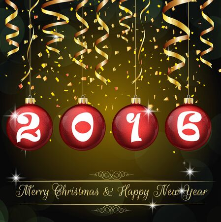 holiday celebrations: Happy New Year 2016 background Illustration