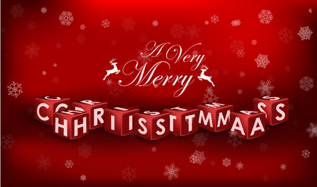 felicitate: Merry Christmas 3d text on red background