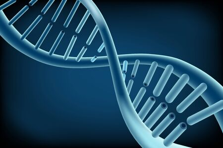 circular chain: Concept Dna on blue background