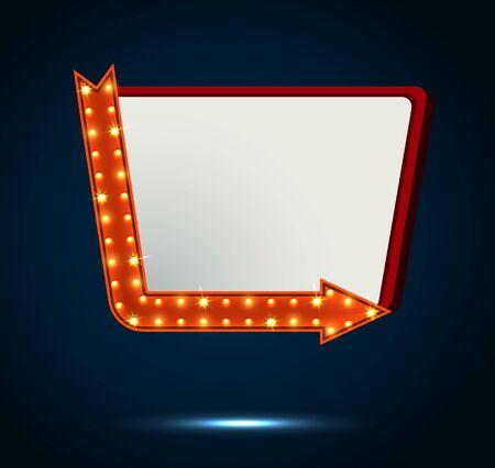 billboard blank: Arrow and billboard sign on blue background