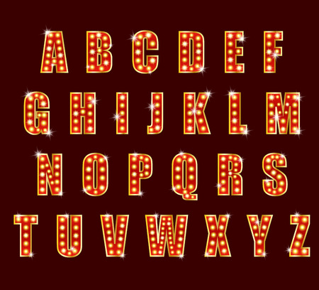 showtime: Light Bulb alphabet glamorous showtime theater alphabet Stock Photo
