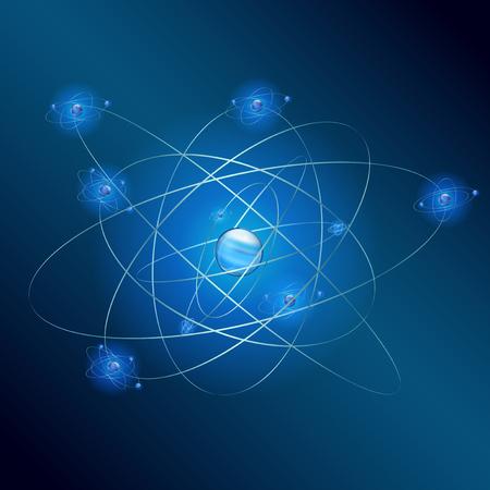 Atomo su sfondo blu Archivio Fotografico - 48890178