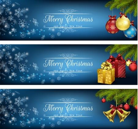 pelota: Conjunto de invierno banners de Navidad con cajas de regalo, bolas y alarmas