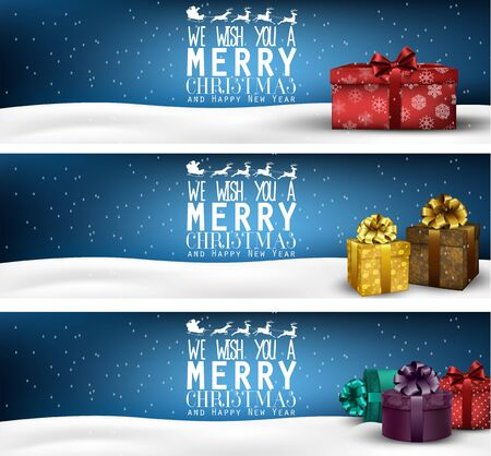 christmas ribbon: Set of winter christmas banners with gift boxes Stock Photo