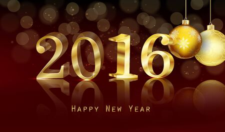 dark brown background: Happy new year 2016 with gold text background Stock Photo