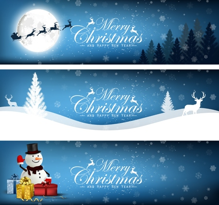 Set of Merry Christmas, banner design background