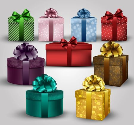ribbons and bows: Illustration of set of colorful gift boxes with bows and ribbons background