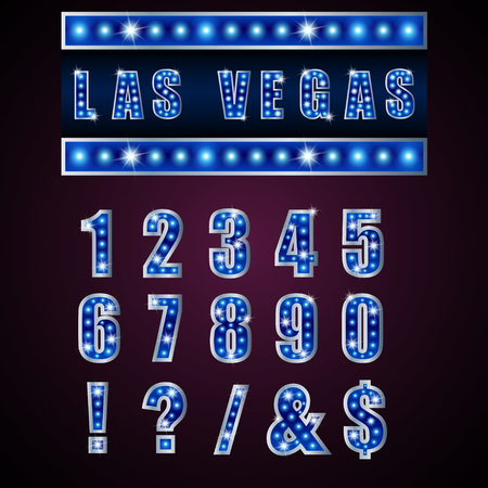 vegas sign: Show lamps blue alphabets and numbers on pink background Stock Photo