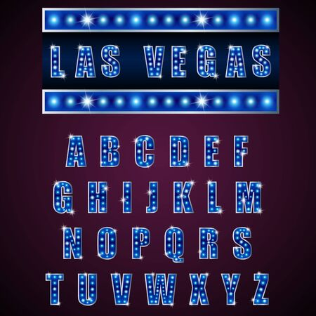 vegas sign: Alphabets lamp of light neon of blue on blue background Stock Photo