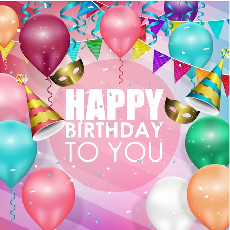 felicitaciones cumpleaÑos: Globos de colores feliz cumpleaños fondo Foto de archivo