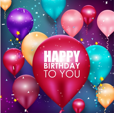 Colorful balloons Happy Birthday background Vectores