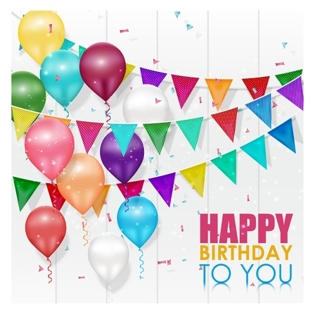 Color balloons Happy Birthday on white background Illustration