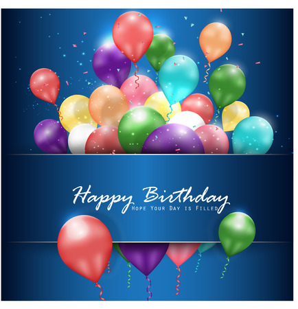 bright card: Colorful balloons Happy Birthday on blue background Illustration
