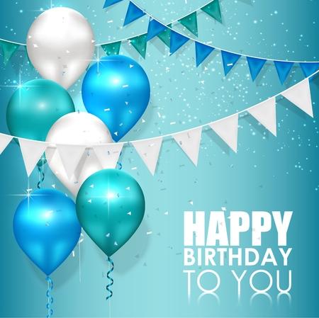 青い水の背景にお誕生日おめでとう色