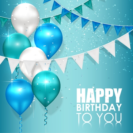 Happy birthday colors on blue water background Ilustrace