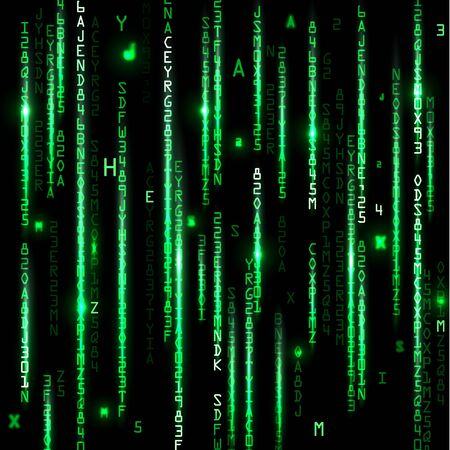 ordinateur bureau: Technologie de fond binaire. Binary sur fond vert