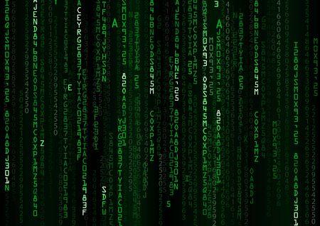 binary background: Technology binary background. Binary on green background Stock Photo