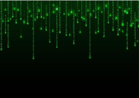binary background: Technology binary background. Binary on green background Illustration