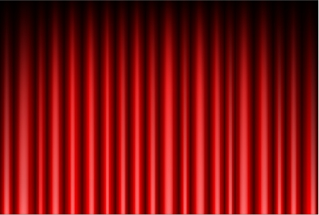 concert audience: Curtain of red background Illustration