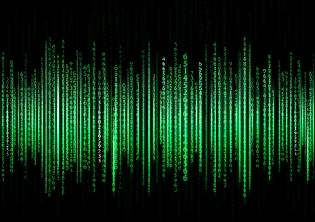 Technology binary background. Binary on green background Illustration