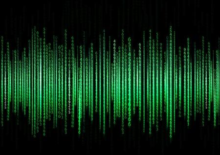 Technologie de fond binaire. Binary sur fond vert