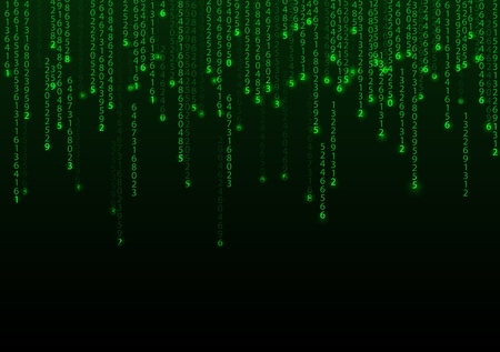 binary background: Technology binary background. Binary on green background Illustration