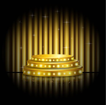 golden light: Empty stage with golden spotlight background Stock Photo