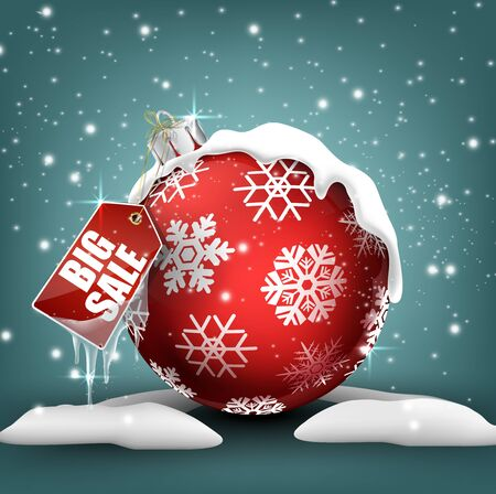 red ball: Big winter sale background with red ball banner and snow Stock Photo