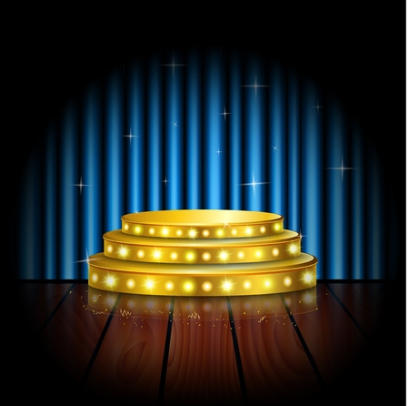 blue curtain: Spotlight golden of empty stage with blue curtain background