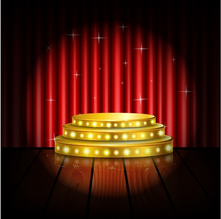 plinth: Spotlight golden of empty stage with red curtain background Illustration