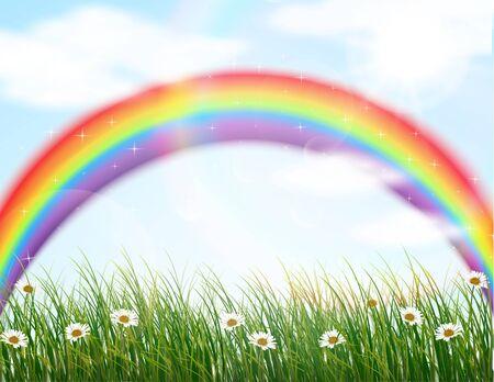 rainbow background: Garden flower with rainbow background