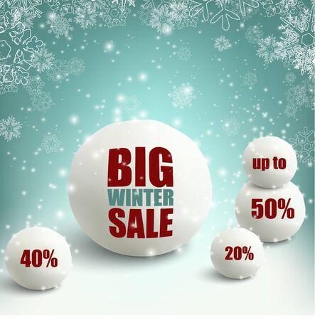 neve palle: Vendita di inverno sfondo con le palle di neve